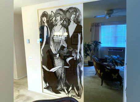 Large Lucite Wall Panels w/1920's Flapper Era Scenes