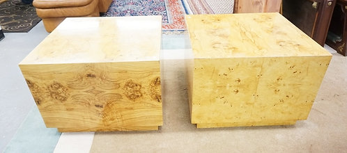 PAIR OF MODERN BURL END TABLES. 29 IN SQUARE, 21 IN H