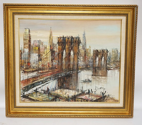 CONTEMPORARY OIL PAINTING ON CANVAS OF A BRIDGE WITH A CITY IN THE BACKGROUND. 3