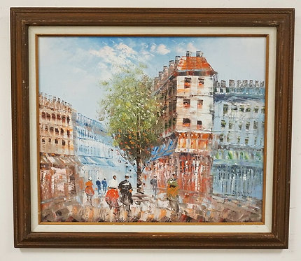 OIL PAINTING ON CANVAS OF A EUROPEAN CITY STREET. SIGNED *BURNETT* LOWER RIGHT.