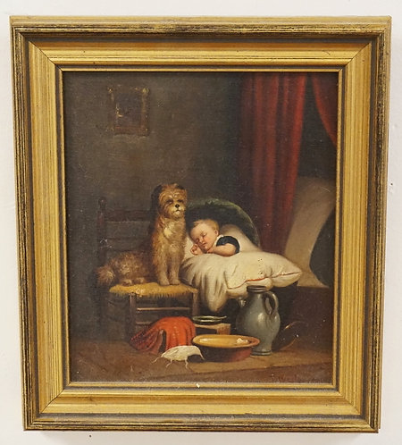 ANTIQUE OIL PAINTING ON CANVAS OF A CHILD SLEEPING WITH A DOG SITTING IN A CHAIR