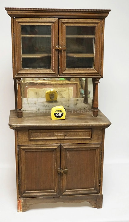 CHILDS SIZE HUTCH WITH A DOUBLE GLASS DOOR TOP AND A CUPBOARD BELOW. 45 1/4 INCH