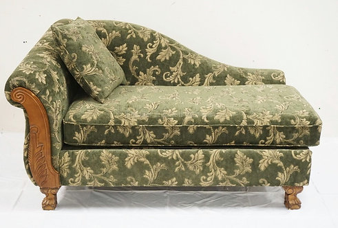 FLORAL UPHOLSTERED CHAISE LOUNGE WITH CARVED LEGS. APPROX 62 INCHES LONG. 37 1/2