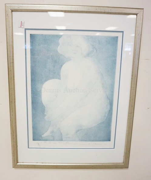 KNUT STEEN PENCIL SIGNED PRINT OF A NUDE WOMAN. 11 1/2 X 15 1/4 INCH SIGHT SIZE.