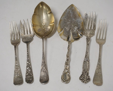 6 PIECES OF STERLING SILVER. 12.39 TROY OZ. INCLUDES 4 ORNATE SERVING PIECES AND