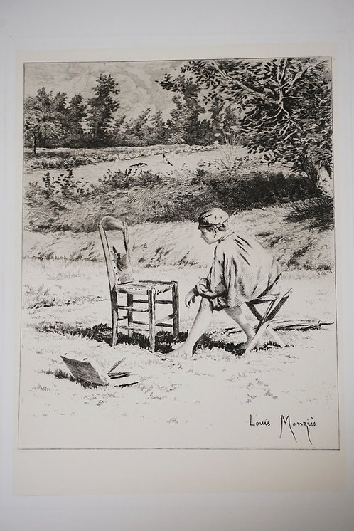 1069_LOUIS MONZIES ETCHING OF AN ARTIST. 8 1/4 X 10 3/8 INCH IMAGE.