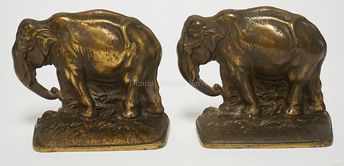 PAIR OF BRONZE ELEPHANT BOOKENDS MEASURING 4 1/8 INCHES HIGH.
