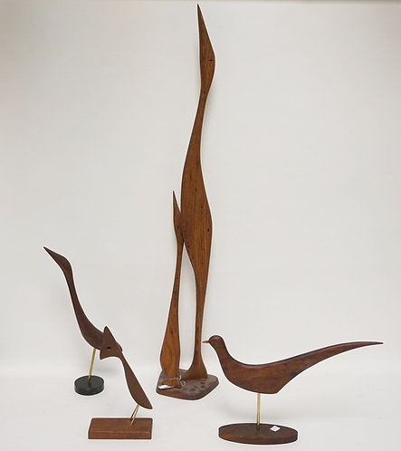 LOT OF 4 WOOD CARVINGS OF BIRDS SIGNED VAL ROBBINS. TALLEST IS 40 INCHES HIGH.