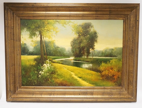 OIL PAINTING ON CANVAS OF A LUSH LANDSCAPE WITH A RIVER AND TREES. 47 X 35 INCH