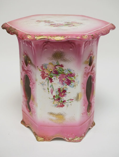MADDOX - LAMBERTON PORCELAIN GARDEN SEAT. TRANSFER DECORATED WITH FLOWERS. 15 IN