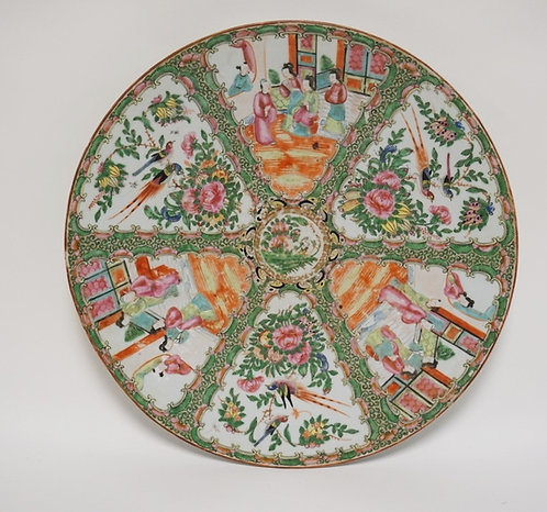 1104_19TH CENTURY ROSE MEDALLION CHARGER MEASURING 16 INCHES IN DIA. LIGHT WEAR.