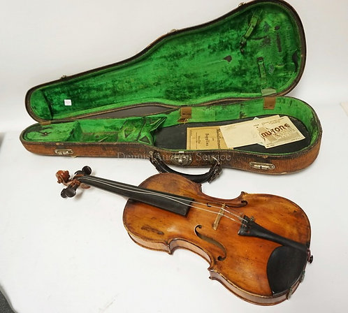 VIOLIN WITH CASE. HAS LABEL- COPY OF A STRADAVARIUS. 23 IN LONG.