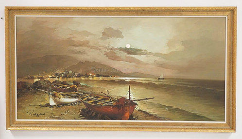 OIL PAINTING ON CANVAS OF BEACHED BOATS ON A SHORELINE. SIGNED *RUGGIANO* LOWER