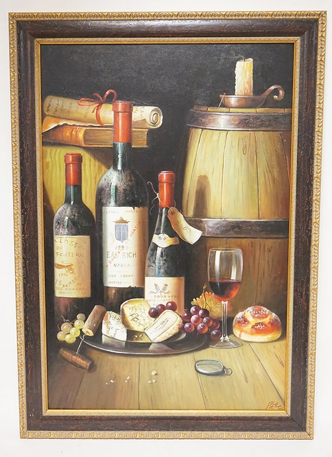 CONTEMPORARY OIL PAINTING ON CANVAS. A STILL LIFE FEATURING BOTTLES OF WINE, FRU