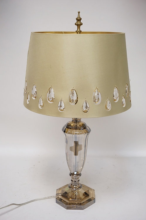 CUT CRYTAL TABLE LAMP WITH ORIGINAL SHADE HAVING INSET HANGING PRISMS. 29 INCHES