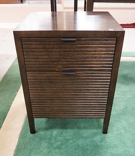 CRATE & BARREL 2 DRAWER STAND. 20 3/4 INCHES WIDE. 25 INCHES HIGH.