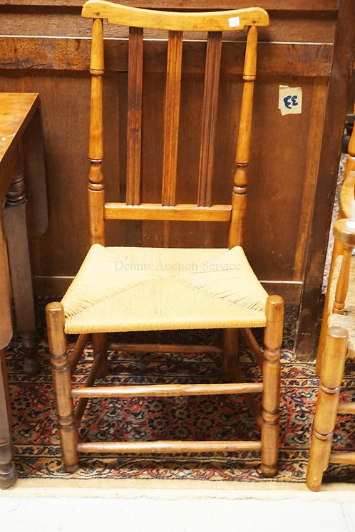 ANTIQUE COUNTRY RUSH SEAT CHAIR. PEGGED.