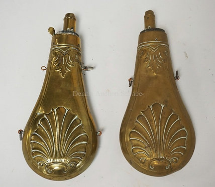 LOT OF 2 ANTIQUE BRASS SHOT FLASKS. 7 7/8 INCHES LONG.