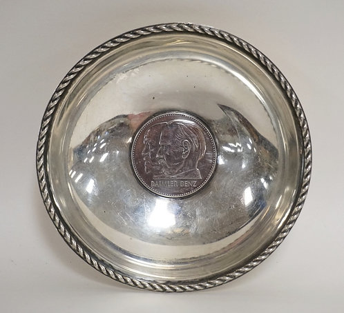 GERMAN STERLING SILVER DISH WITH A SILVER *DAIMLER BENZ* COMMEMORATIVE COIN INSE