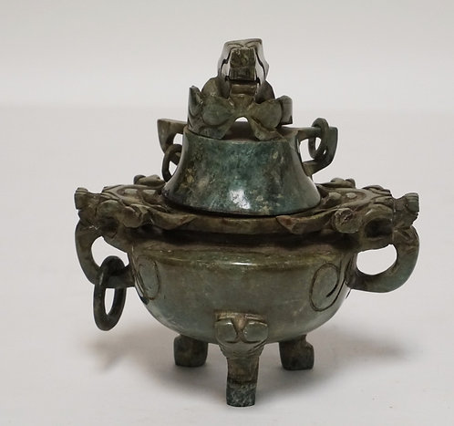 CARVED ASIAN GREEN STONE CENSER. 5 5/8 INCHES HIGH. 5 5/8 INCHES WIDE. HAS SOME