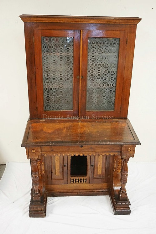 VICTORIAN PINE DESK WITH BOOKCASE TOP. BIRDSEYE MAPLE PANELS, TURNED COLUMNS, AN