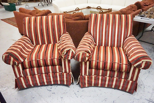 PAIR OF PEASON SWIVEL LOUNGE CHAIRS WITH STRIPED UPHOLSTERY.