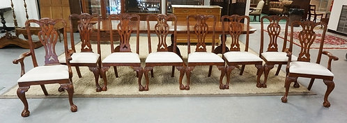 SET OF 8 CHIPPENDALE STYLE CARVED DINING CHAIRS.