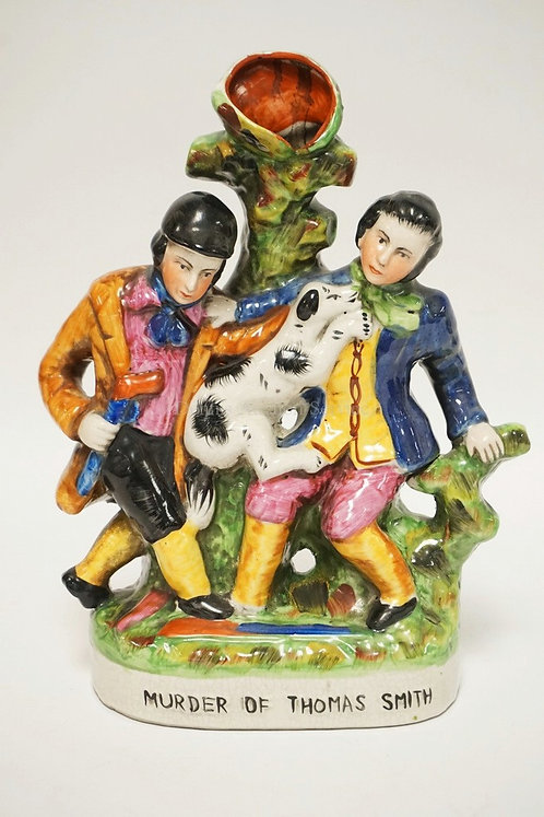 FIGURAL STAFFORDSHIRE VASE TITLED *MURDER OF THOMAS SMITH*. 11 INCHES HIGH.