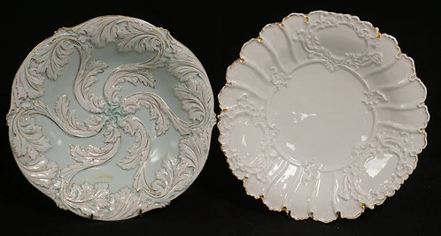 2 MEISSEN PORCELAIN BOWLS. EACH MEASURING 11 INCHES. BOTH WITH FACTORY SCRATCHED