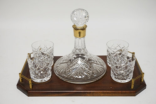 WATERFORD DECANTER & 4 TUMBLER SET WITH ORIGINAL SERVING TRAY HAVING BRASS HANDL