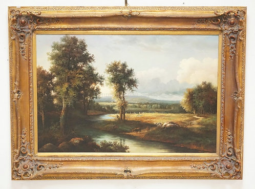 1003_OIL PAINTING ON CANVAS OF A EUROPEAN LANDSCAPE WITH COWS NEXT TO A RIVER WI