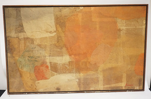 ABSTRACT PAINTING ON A FIBERGLAS PANEL. SIGNED LOWER RIGHT. 48 X 29 1/2 INCHES.C