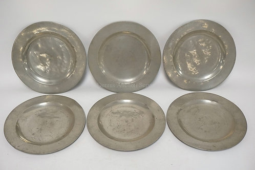SET OF 6 ANTIQUE PEWTER PLATES WITH VERY WALL HALLMARKS. 9 3/4 INCH DIA.