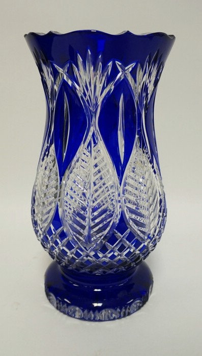 LARGE, HEAVY AVITRA CRYSTAL COBALT BLUE CUT TO CLEAR VASE. HAS ORIGINAL LABEL. 1