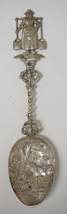 DUTCH .833 SILVER SPOON. THE BOWL WITH RELIEF DECORATION OF A MAN & COWS. THE HA