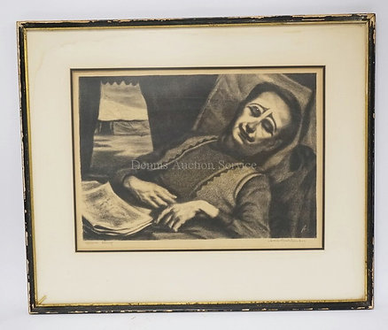 JACK BOOKBINDER *CIRCUS SLEEP* PRINT. PENCIL SIGNED AND TITLED. STAINING TO EDGE