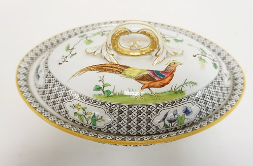 ROYAL WORCESTER COVERED SERVING DISH WITH A CHINESE PHEASANT. HAS A HAIRLINE IN