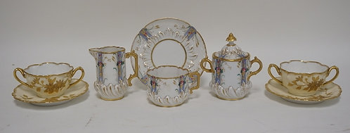 GROUPING OF HAND PAINTED FRENCH PORCELAIN. A CREAM, SUGAR, CUP AND SAUCER ALONG
