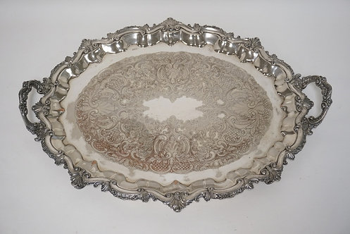 SHEFFIELD SILVER PLATED SERVING TRAY. 26 X 19 1/2 INCHES. SOME WEAR TO THE PLATI