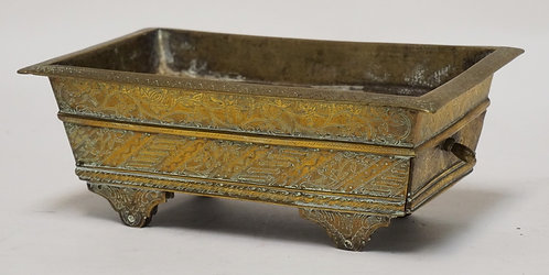 ANTIQUE ASIAN BRASS CASKET WIN ONE DRAWER. 2 WHEELS MISSING ON BASE, ORNATELY TO
