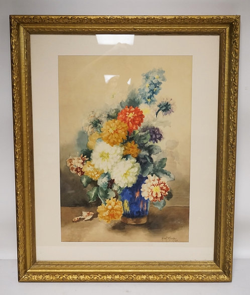 HENRI MARGO STILL LIFE WATERCOLOR PAINTING OF FLOWERS. SIGNED LOWER RIGHT. 16 3/