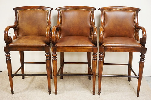 SET OF 3 CARVED MAHOGANY BAR STOOLS WITH LEATHER SEATS AND BACK RESTS. 46 INCHES