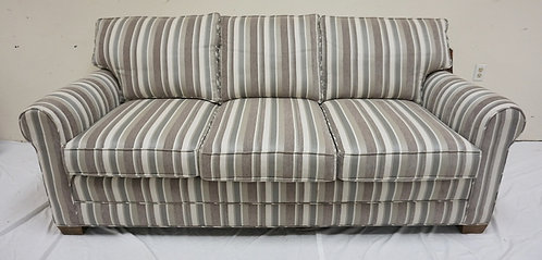 NEW FURNITURE LIQUIDATION GRAY STRIPED SOFA WITH 2 MATCHING THROW PILLOWS. APP 8