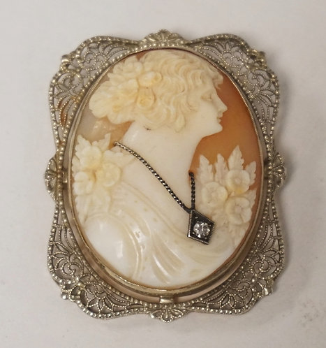 14K GOLD CARVED CAMEO BROOCH WITH A DIAMOND PENDANT AND A BEAUTIFUL FILIGREE FRA