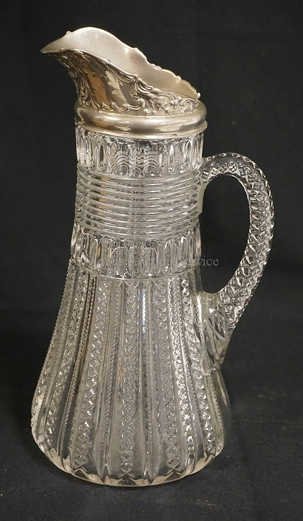 DUNCANS #42 AKA MARDI GRAS EAPG PITCHER WITH A SILVER PLATED RIM (NEEDS TO BE RE