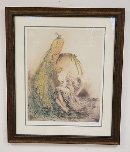 LOUIS ICART PRINT OF A WOMAN BY A LARGE PEACOCK. 28 1/2 X 34 INCH FRAME. PROFESI