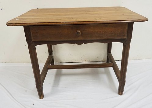 COUNTRY TABLE WITH ONE DRAWER & A STRETCHED BASE. 40 INCHES WIDE. 28 INCHES HIGH
