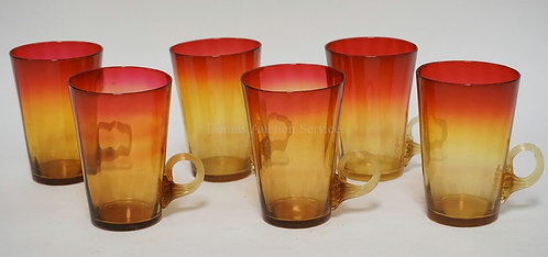 SET OF 6 ANTIQUE AMBERINA CUPS WITH APPLIED AND REEDED RING HANDLES. POLISHED PO
