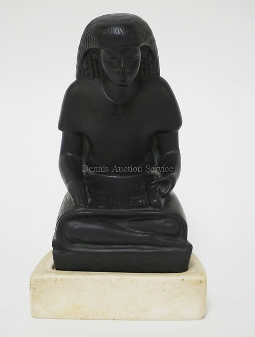 1016_ALVA STUDIOS SEATED EGYPTIAN FIGURE WITH A SCROLL. 5 7/8 INCHES HIGH.