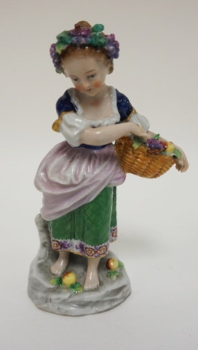 SITZENDORF PORCELAIN, GIRL WITH A BASKET OF FRUIT. 5 3/4 IN H